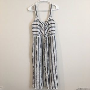 Zara button down white stripe linen midi dress